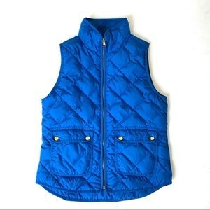 J Crew Royal Blue Quilted Puffer Vest Small